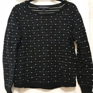 French Connection Black Polk-a-Dot Sweater-Size M